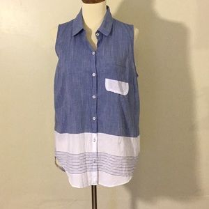 Atmosphere Sleeveless Button Up Top
